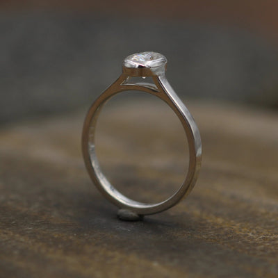 Moissanite 4x6mm Oval Peekaboo Bezel Solitaire Ring -  Forever One Moissanite - Glossy Moissanite Ring - Moissanite Solitaire