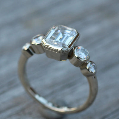Moissanite 6x8mm Octagon Milgrain White Gold Multi Bezel Ring -  Alternative Engagement Ring 1.6 carat -  Bezel Ring - Forever One