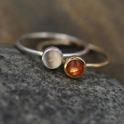 Sun and Moon Gold and Silver Ring Set - Sunstone and Moonstone Ring Set - Skinny Stacking Ring Set - Round Stacking Rings - Gold Sunstone