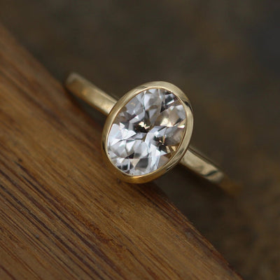 White Topaz 6x8mm Oval Yellow Gold Ring Hand Made in 14kt Yellow Gold, Alternative Engagement Ring, Bezel Ring