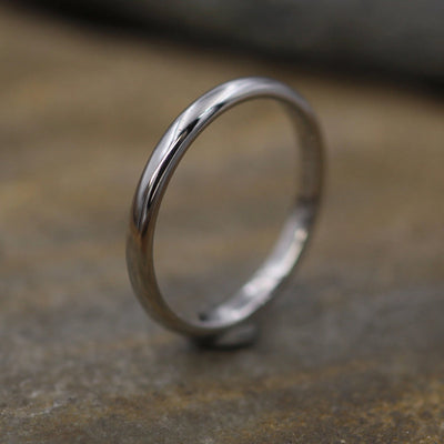 Platinum Shiny Band 2x1.5mm - Simple Platinum Band - Smooth Platinum Band - Engravable Band - Half Round Band - Hand Made in 950 Platinum