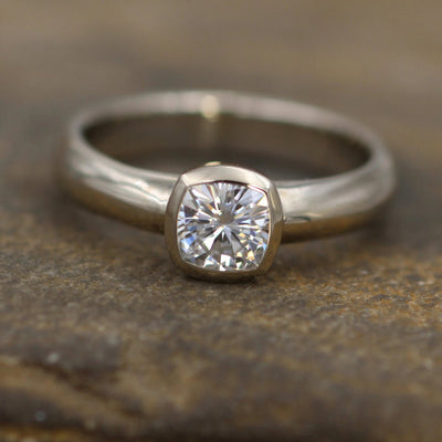 Moissanite Cushion Cut Bezel Wide Band White Gold Solitaire Ring - 5.5x5.5mm Forever One Moissanite - Glossy Moissanite Ring