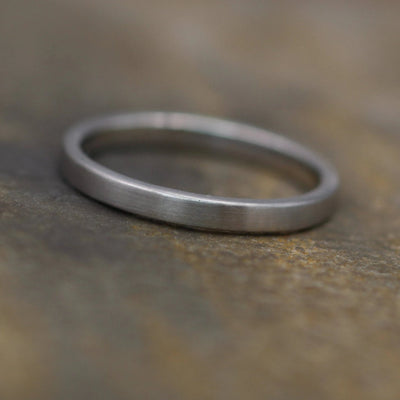Platinum Ring  2x1.2mm Flat Matte - Platinum Ring - Platinum Wedding Ring - Platinum Stacking Ring - Engravable Platinum