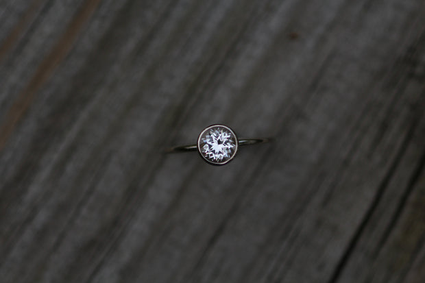6mm White Topaz Skinny White Gold Stacking Ring - Topaz Gold Stacking Ring - Round Stacking Ring - Gold Ring - White Gold Stackable