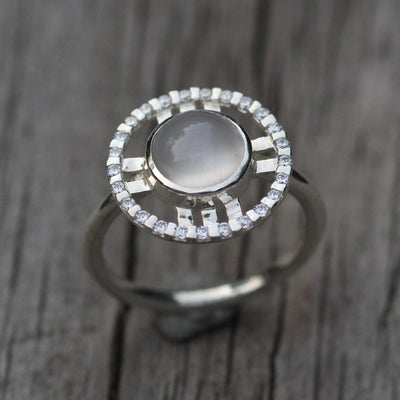 Moonstone and Diamond Bezel Ring - Moonstone Halo Ring - Moonstone Ring - Alternative Engagment Ring - Moonstone Jewelry