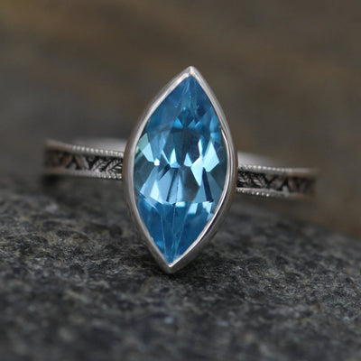 Swiss Blue Topaz Milgrain Leaf Engraved Silver or Gold Multi Bezel Ring -  Alternative Engagement Ring -  Bezel Ring - Marquise Ring