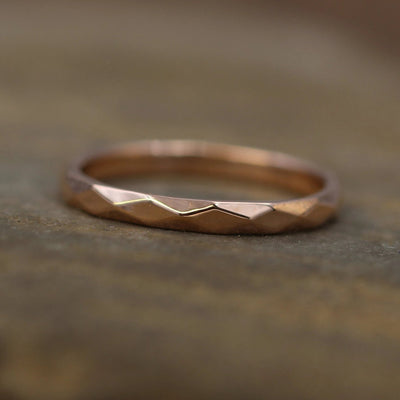 Rose Gold Gold 2mm width Hammered/Faceted Texture - Simple Rose Gold Band - Personalized, Custom Engraving, Stackable, Hand Made