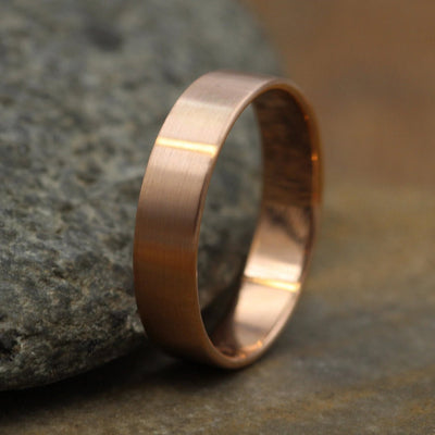 14kt Rose 5x1mm Matte Wide Gold Band - Matte Band- Mens Wide Band - Flat Gold Ring - Rose Gold Band - Low Profile Gold Band