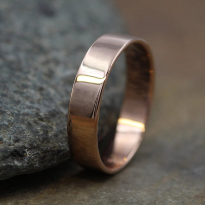 14kt Rose Gold 5x1mm Shiny Wide Gold Band - Glossy Band- Mens Wide Band - Flat Gold Ring - Pink Gold Band - Low Profile Gold Band