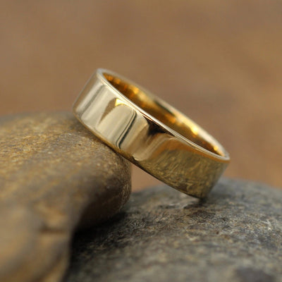 14kt Yellow 6x1.2mm Glossy Wide Gold Band - Shiny Band- Mens Wide Band - Flat Gold Ring - Yellow Gold Band - Low Profile Gold Band