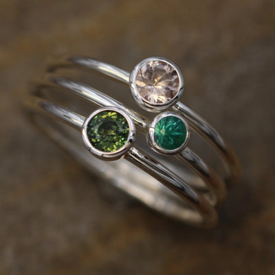 Emerald, Morganite and Green Sapphire Stacking Bezel Ring Set - Handmade in Silver or Gold - Green Stacking Set - Pink Stacking Set