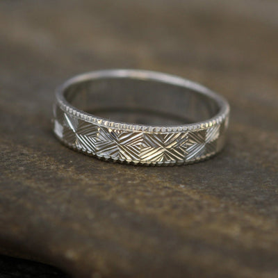 Bright Cut Diamond Pattern Hand Engraved 5x1.2mm Band - Milgrain Edge - Textured Ring - Patterned Ring - Low Profile Ring