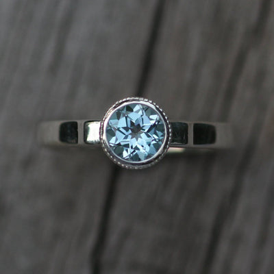 Blue Topaz Milgrain Detail Bezel Ring - Blue Topaz Solitaire Ring - Blue Topaz Alternative Engagement Ring - Sky Blue Topaz Ring