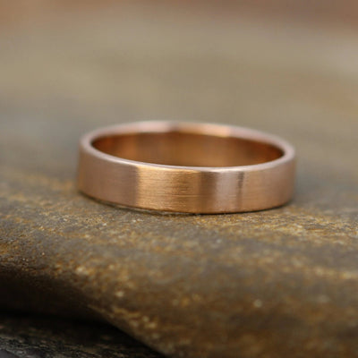 14kt Rose Gold 4x1.2mm Wide Band -Matte Finish - Mens or Womens Wide Band - Medium Profile Gold Ring - Rose Gold Band - Pink Gold Wedding