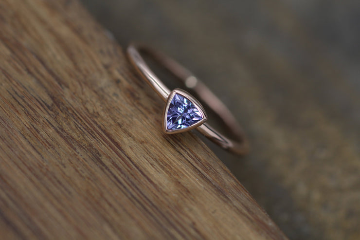 Tanzanite Rose Gold Bezel Trilliant Ring - Tanzanite Trilliant - Tanzanite Ring - Tanzanite Solitaire Ring - Natural Tanzanite