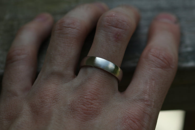 Wide 14kt White Gold Band 5.5x1.7mm, Matte Finish , Comfort Fit - Smooth Band - Engravable Band - Half Round Gold Band - Hand Made