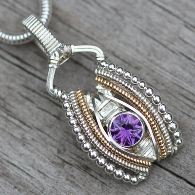 Star Cut Amethyst Wire Wrapped Pendant- Precision cut Amethyst Pendant - Sterling Silver and Solid 14kt yellow gold - Hand Made - Custom Cut
