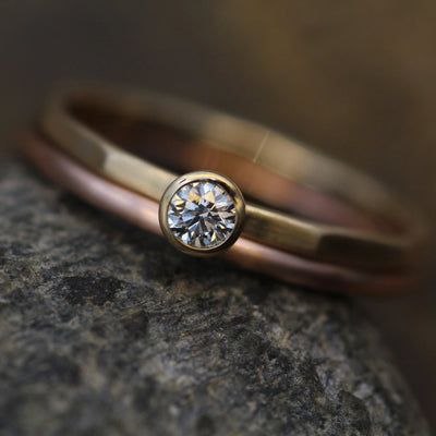 Canadian Diamond Yellow & Rose Gold Ring Set - 3mm Matte Finish , 0.11 ct - Gold Engagement Ring - Diamond Gold Stacking Ring - VS Ring