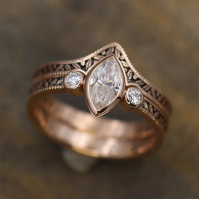 Moissanite Vintage Inspired Engagement and Wedding Ring Set - Marquise Ring - Leaf Engagment Ring - Moissanite Ring - Moissanite Bezel Ring