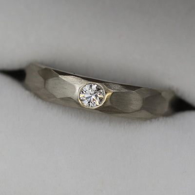 Diamond Matte 3mm Wide Flush Set Wedding Band With a Hammered/Faceted Texture  - Canadian Diamond - Engravable Diamond Band