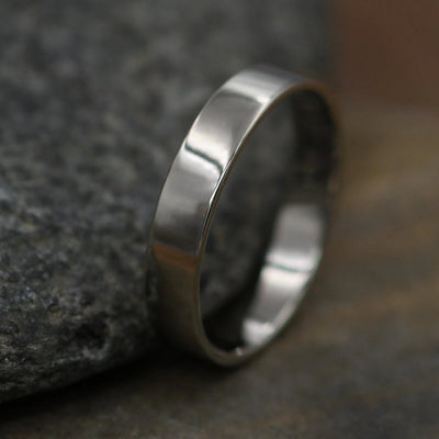 18kt White Gold Shiny 4x1mm Wide Band - Men or Womens Wide Band - Thin Gold Ring - White Gold Band - Low Profile Gold Band