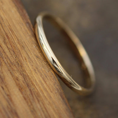 Yellow Gold 14kt 2x1.2mm Shiny Finish Band - Simple Gold Band - Smooth Band - Engravable Band - Half Round Gold Band - 14 kt Yellow Gold