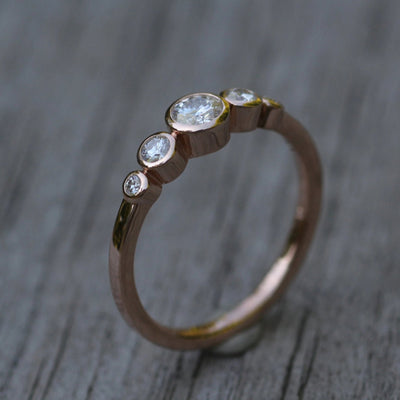 Moissanite Multi Bezel Rose Gold Ring - Forever One Moissanite Engagement Ring - Moissanite Engagement Ring - Alternative Engagement Ring