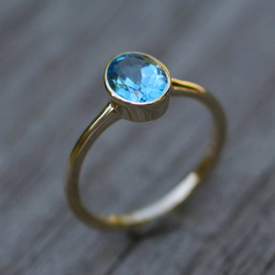 Swiss Blue Topaz Yellow Gold 6x8mm Bezel Ring - Glossy Finish Solitaire Ring -Topaz Ring - Alternative Engagement Ring