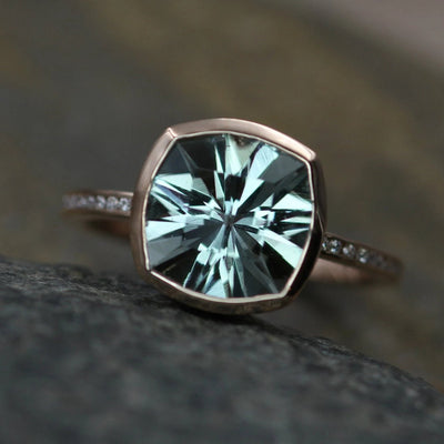 Green Amethyst and Diamond Rose gold Cushion Cut Bezel and Channel Ring - 9x9mm Prasiolite - Glossy Green Amethyst Ring
