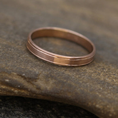 14kt Rose Gold Bordered Medium Band 3x1mm with Matte Finish - Hand Made in solid 14 kt Rose Gold - Wide Band - Thin Gold Ring - Gold Band