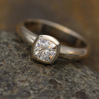 Moissanite Near Colorless Cushion Cut Bezel Wide Band White Gold Solitaire Ring - 5.5x5.5mm Forever One Moissanite - Glossy Moissanite Ring