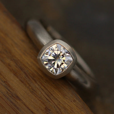 Moissanite Matte Near Colorless Cushion Cut Bezel Wide Band White Gold Solitaire Ring - 5.5x5.5mm Forever One Moissanite - Moissanite Ring