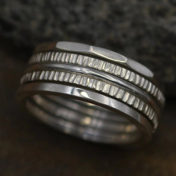 1.6mm Bark Texture Stacking Ring Set Glossy - 5x Ring Rings - Choice of Silver or Gold - Hand Made Rings - Stacking Set - Simple Ring Set