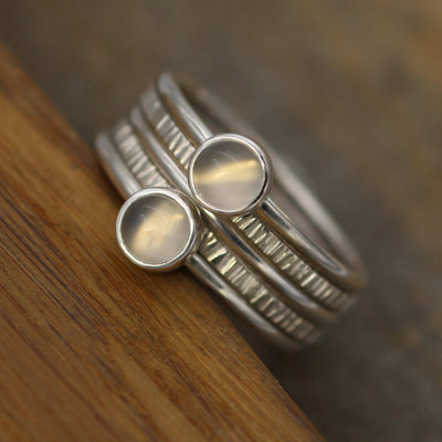 5mm Moonstone Stacking Ring Set - 1.6mm Bands Glossy Finish - Thick Moonstone Ring - Round Moonstone Ring - Silver Moonstone Ring