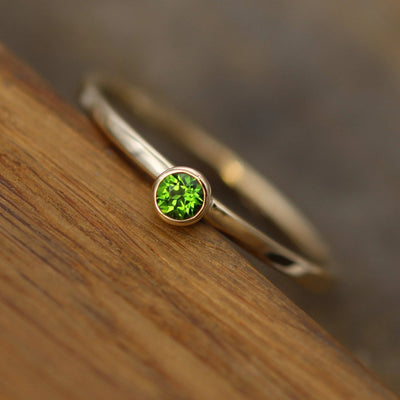 Chrome diopside 3mm Square Band Yellow Gold Stacking Ring - Glossy Finish - Hand Made in 14kt Gold - Stackable Chrome Diopside Ring