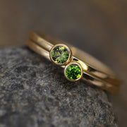 Green Sapphire and Chrome Diopside Shiny Gold Ring set - Green Sapphire Ring Set - Chrome Diopside Ring Set - Stacking Ring Set