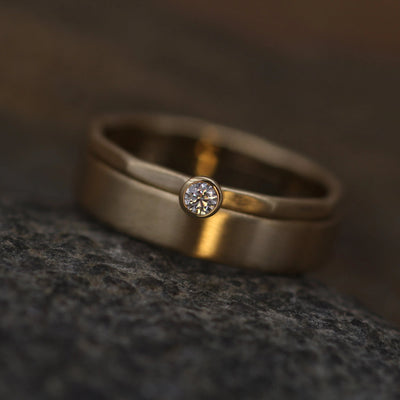 Canadian Diamond VS Ring Set , 5x1mm band Matte Finish - 2.5 mm, 0.05 ct - Engagement Ring - Diamond Gold Stacking Ring - VS Ring