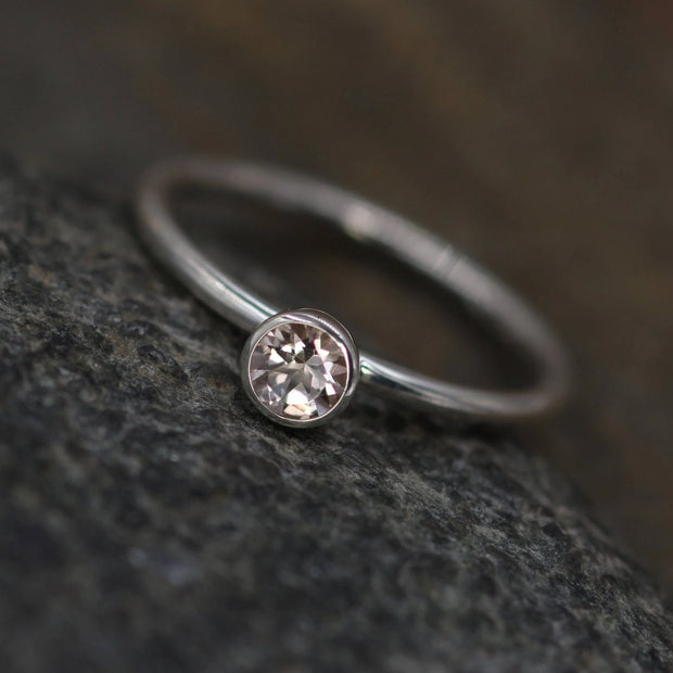 4mm Morganite - 1.6mm Band Glossy Silver Stacking Ring - 1.6mm Band - Pink Morganite Ring - Silver or Gold Ring -  Morganite Solitaire