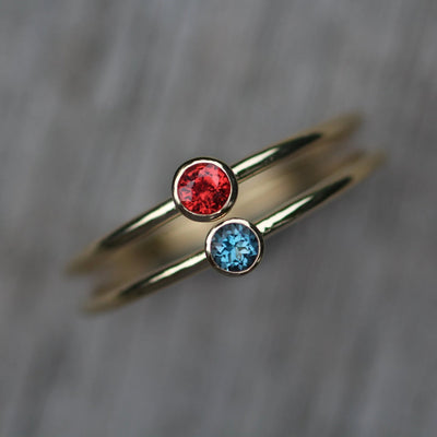 Pomegranate Sapphire and London Blue Topaz Shiny Gold Stacking Bezel Ring Set - Red Sapphire Ring - Orange Sapphire Ring - Pomegranate Ring