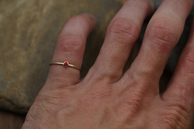 2.5mm Precision Cut Ruby Gold Matte Finish Round Stacking Ring - Made in Solid 14 kt Yellow Gold - Gold Ring - Matte Ring