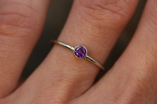 Amethyst 4mm White Gold Stacking Bezel Ring - Amethyst Bezel Ring - Amethyst Stacking Ring - February Birthstone Ring - Bezel Ring