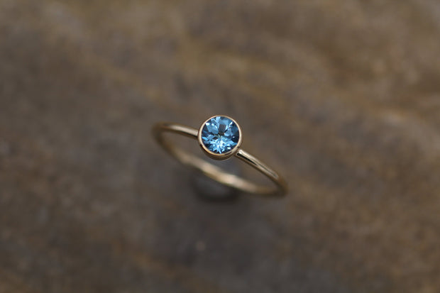 5mm Swiss Blue Topaz 1.6mm Band Yellow Gold Stacking Ring - Topaz Gold Stacking Ring - Round Stacking Ring - Gold Ring