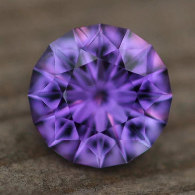 Precision Cut Hearts and Arrows Amethyst Round Gemstone - Precision Cut Amethyst - Brazilian Amethyst - Loose Gemstone