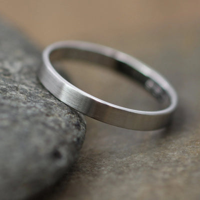 Platinum Matte 3x1mm Wide Band - Mens or Womens Wide Band - 950 Platinum Band - Low Profile Platinum Band