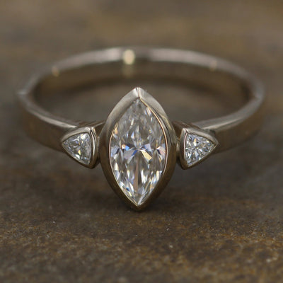 Moissanite White Gold Hand Made Vintage Inspired Engagement Ring - Marquise Ring - Triangle Engagment Ring - Alternative Engagment Ring