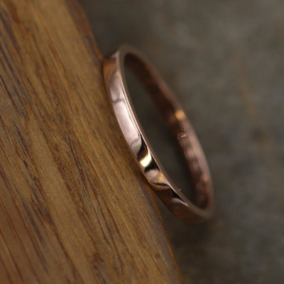 2x1.2mm Flat Rose Gold Band with Glossy Finish - Hand Made in solid 14 kt Yellow, Rose or White Gold - Medium Weight Band