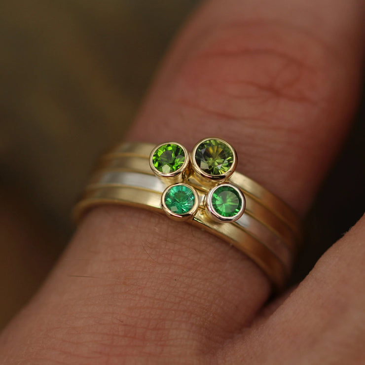 Green Gemstone Matte Gold Ring set - Matte Ring Set - Emerald - Tsavorite Garnet - Chrome Diopside and Green Sapphire - Stacking Ring Set