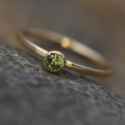 Green Sapphire 3.3mm Square Band Yellow Gold Stacking Ring - Glossy Finish - Hand Made in 14kt Gold - Stackable Green Sapphire