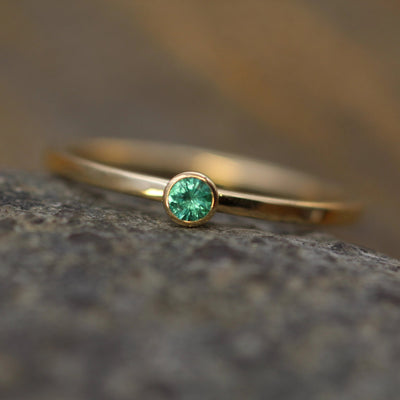 Emerald 2.5mm Square Band Yellow Gold Stacking Ring - Glossy Finish - Hand Made in 14kt Gold - Stackable Emerald Ring
