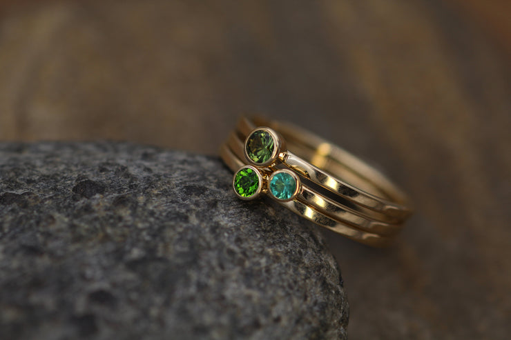 Emerald, Green Sapphire and Chrome Diopside Shiny Gold Ring set - Emerald Ring Set - Emerald - Green Sapphire - Stacking Ring Set